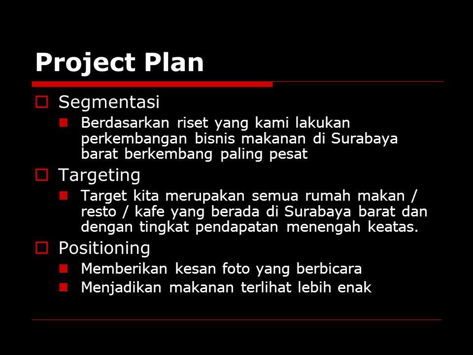 Project Plan  Segmentasi Berdasarkan riset yang kami lakukan perkembangan bisnis makanan di Surabaya barat berkembang paling pesat  Targeting Target kita merupakan semua rumah makan / resto / kafe yang berada di Surabaya barat dan dengan tingkat pendapatan menengah keatas.