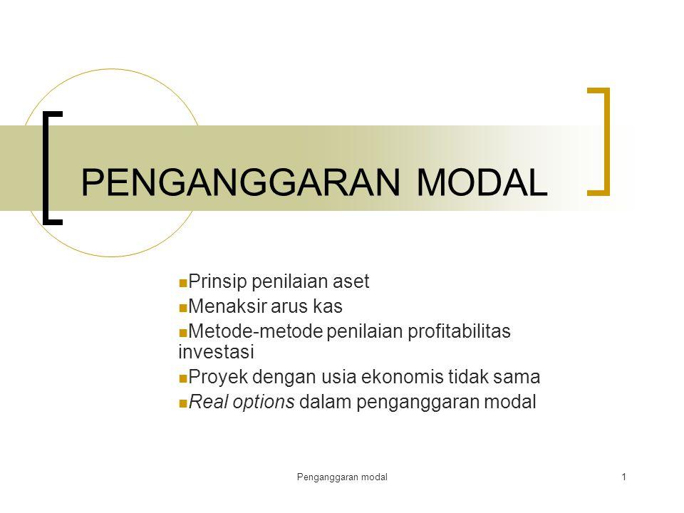 Penganggaran modal1 PENGANGGARAN MODAL Prinsip penilaian aset Menaksir arus kas Metode-metode penilaian profitabilitas investasi Proyek dengan usia ek