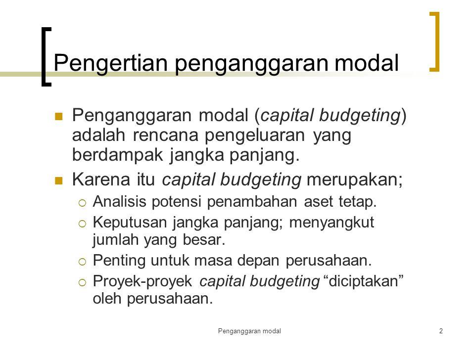 Penganggaran modal2 Pengertian penganggaran modal Penganggaran modal (capital budgeting) adalah rencana pengeluaran yang berdampak jangka panjang. Kar