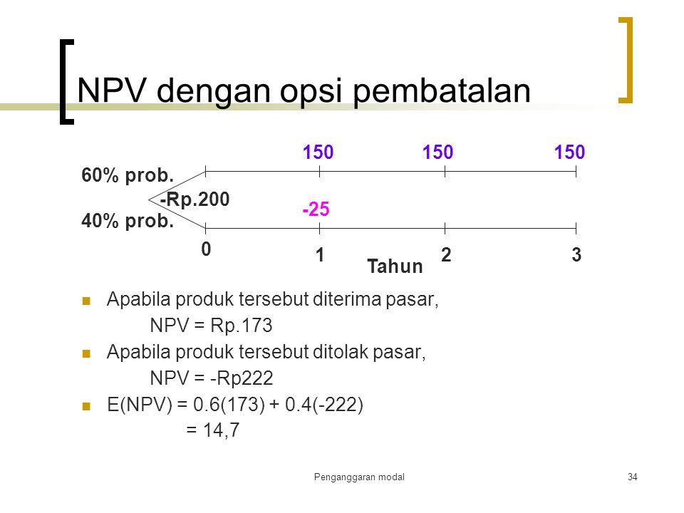 Penganggaran modal34 NPV dengan opsi pembatalan Apabila produk tersebut diterima pasar, NPV = Rp.173 Apabila produk tersebut ditolak pasar, NPV = -Rp2