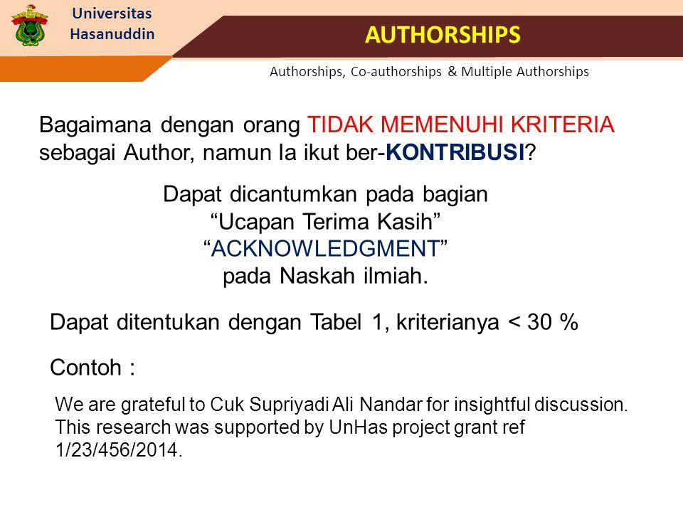 Universitas Hasanuddin Authorships, Co-authorships & Multiple Authorships AUTHORSHIPS Bagaimana dengan orang TIDAK MEMENUHI KRITERIA sebagai Author, n