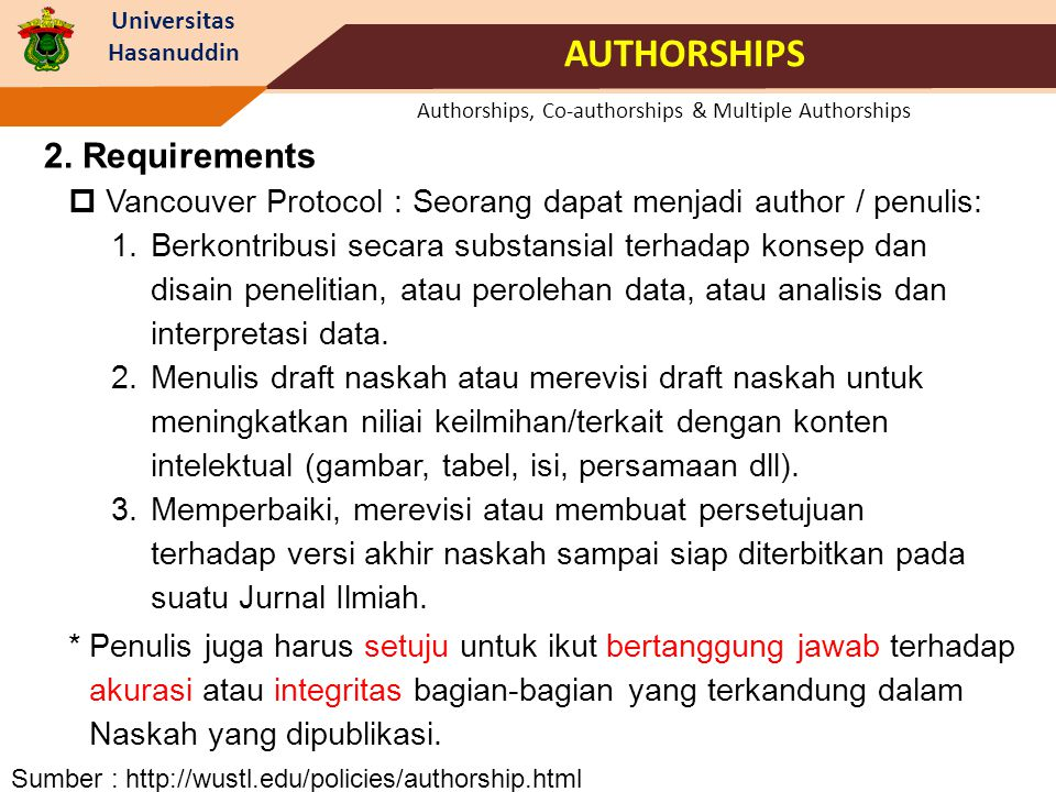 Universitas Hasanuddin Authorships, Co-authorships & Multiple Authorships AUTHORSHIPS UraianSkor 4.
