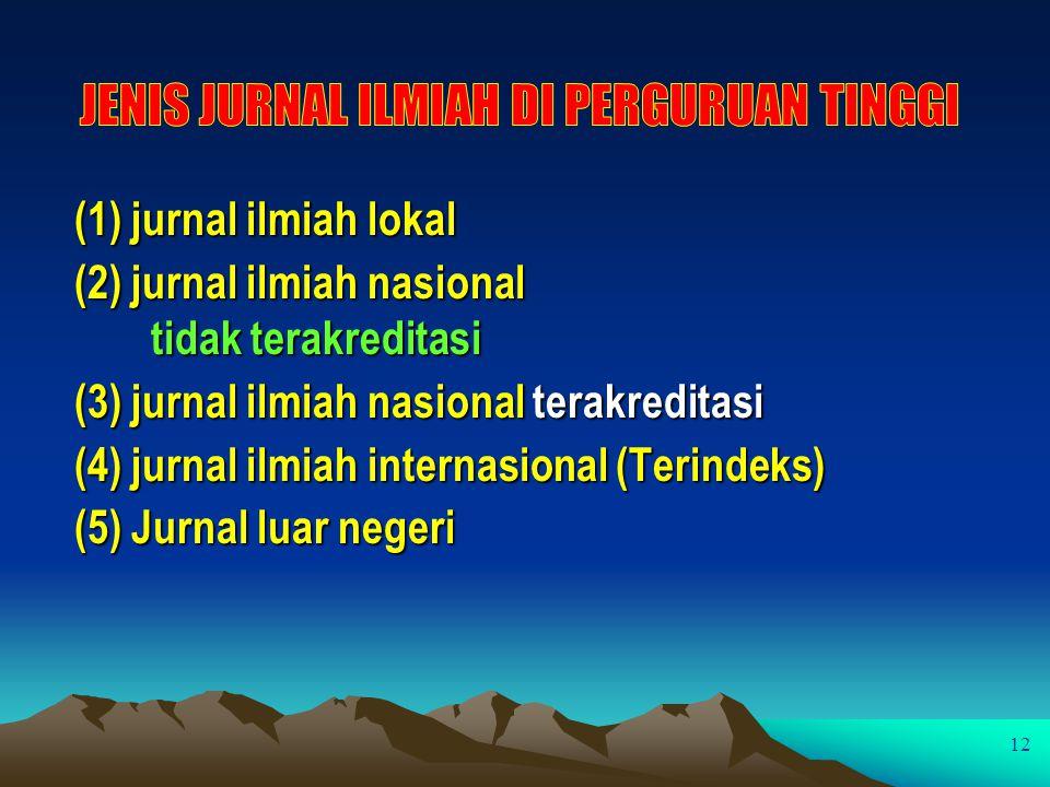 (1) jurnal ilmiah lokal (2) jurnal ilmiah nasional tidak terakreditasi (3) jurnal ilmiah nasional terakreditasi (4) jurnal ilmiah internasional (Terin