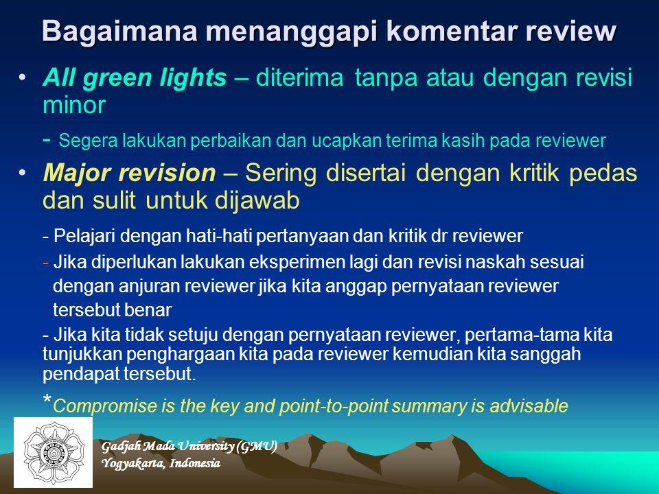 Bagaimana menanggapi komentar review All green lights – diterima tanpa atau dengan revisi minor - Segera lakukan perbaikan dan ucapkan terima kasih pa