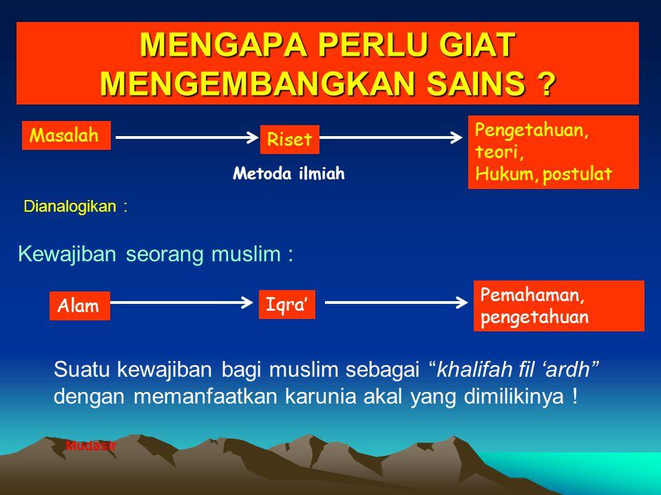 """MENGAPA PERLU GIAT MENGEMBANGKAN SAINS ? Suatu kewajiban bagi muslim sebagai """"khalifah fil 'ardh"""" dengan memanfaatkan karunia akal yang dimilikinya !"""