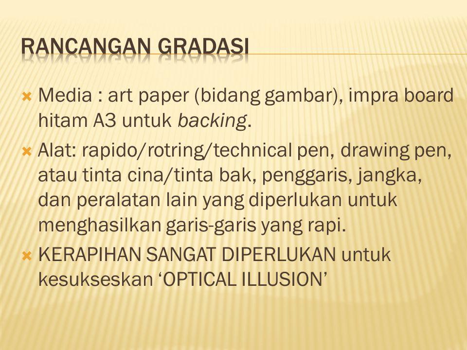  Media : art paper (bidang gambar), impra board hitam A3 untuk backing.  Alat: rapido/rotring/technical pen, drawing pen, atau tinta cina/tinta bak,