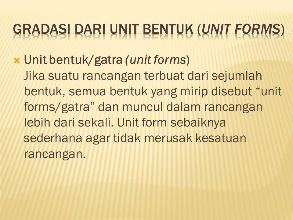 """ Unit bentuk/gatra (unit forms) Jika suatu rancangan terbuat dari sejumlah bentuk, semua bentuk yang mirip disebut """"unit forms/gatra"""" dan muncul dala"""