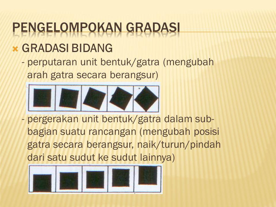  GRADASI BIDANG - perputaran unit bentuk/gatra (mengubah arah gatra secara berangsur) - pergerakan unit bentuk/gatra dalam sub- bagian suatu rancanga