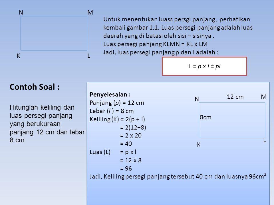 A. Keliling dan Luas Persegi Panjang NM LK Gambar disamping menunjukkan persegi panjang KLMN dengan sisi sisinya, yaitu : N K M L Keliling sebuah bang