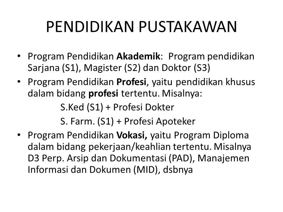 PENDIDIKAN PUSTAKAWAN Program Pendidikan Akademik: Program pendidikan Sarjana (S1), Magister (S2) dan Doktor (S3) Program Pendidikan Profesi, yaitu pendidikan khusus dalam bidang profesi tertentu.