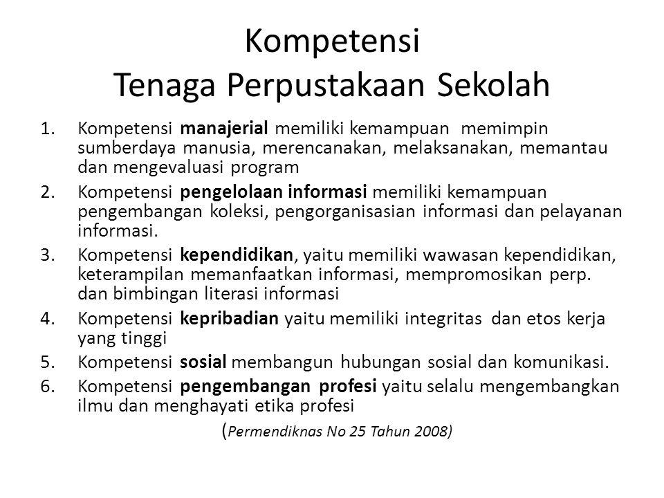 KOMPETENSI TENAGA PERPSTAKAAN SEKOLAH MANAGE- RIAL PENGELO- LAAN INFORMAS KEPENDI- DIKAN KEPRIBA- DIAN SOSIAL PENGEMBANGAN PROFESI Permen diknas No 25