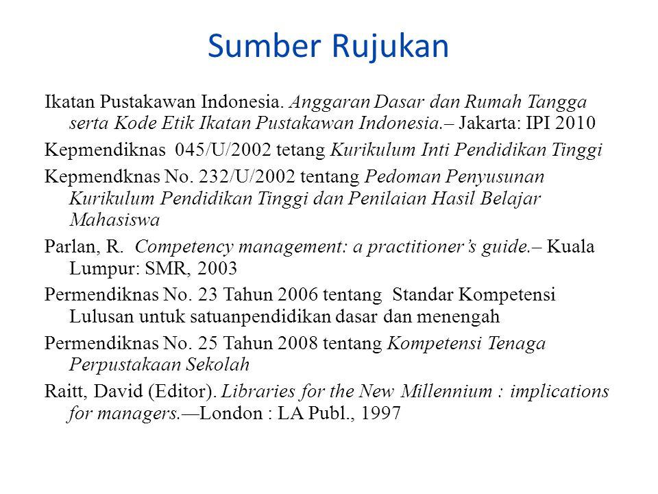 Sumber Rujukan Ikatan Pustakawan Indonesia.