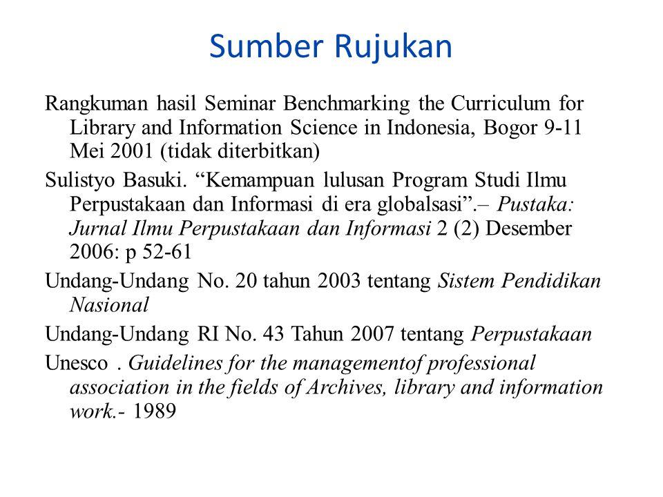 Sumber Rujukan Rangkuman hasil Seminar Benchmarking the Curriculum for Library and Information Science in Indonesia, Bogor 9-11 Mei 2001 (tidak diterbitkan) Sulistyo Basuki.