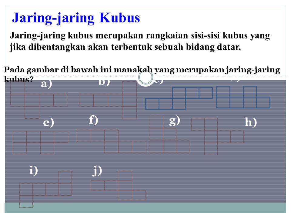 Jaring-jaring kubus merupakan rangkaian sisi-sisi kubus yang jika dibentangkan akan terbentuk sebuah bidang datar. Jaring-jaring Kubus Pada gambar di