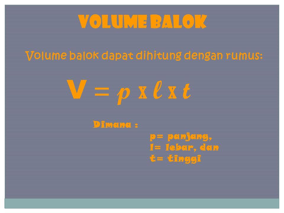 VOLUME BALOK Volume balok dapat dihitung dengan rumus: V = p x l x t Dimana : p= panjang, l= lebar, dan t= tinggi