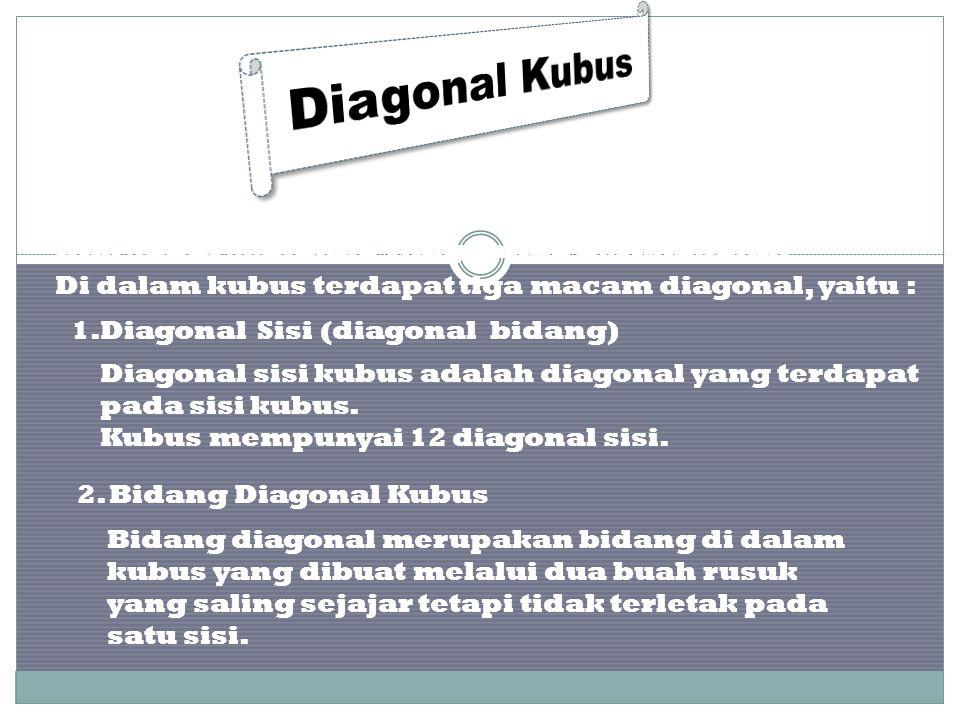 Diagonal merupakan garis yang menghubungkan dua titik sudut sebidang yang saling berhadapan. Di dalam kubus terdapat tiga macam diagonal, yaitu : 1.DD