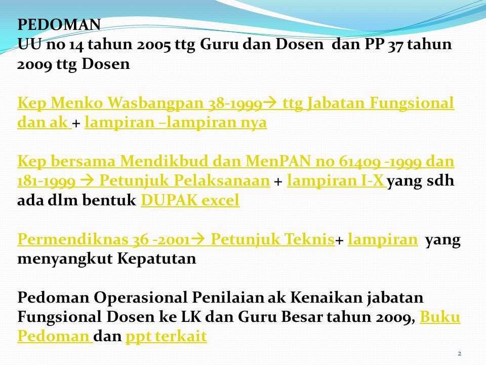 2 PEDOMAN UU no 14 tahun 2005 ttg Guru dan Dosen dan PP 37 tahun 2009 ttg Dosen Kep Menko Wasbangpan 38-1999  ttg Jabatan Fungsional dan ak Kep Menko