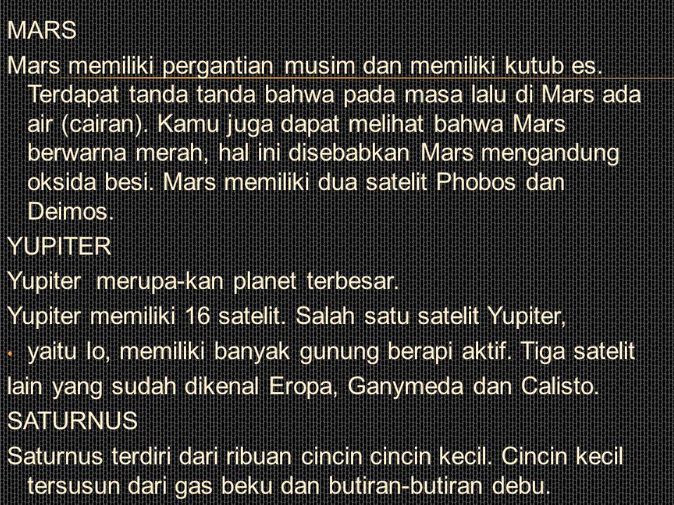 PLANET-PLANET DALAM TATASURYA MERKURIUS Merkurius adalah planet terdekat dari matahari dan merupakan planet terkecil. Permukaannya penuh barutbarut ak