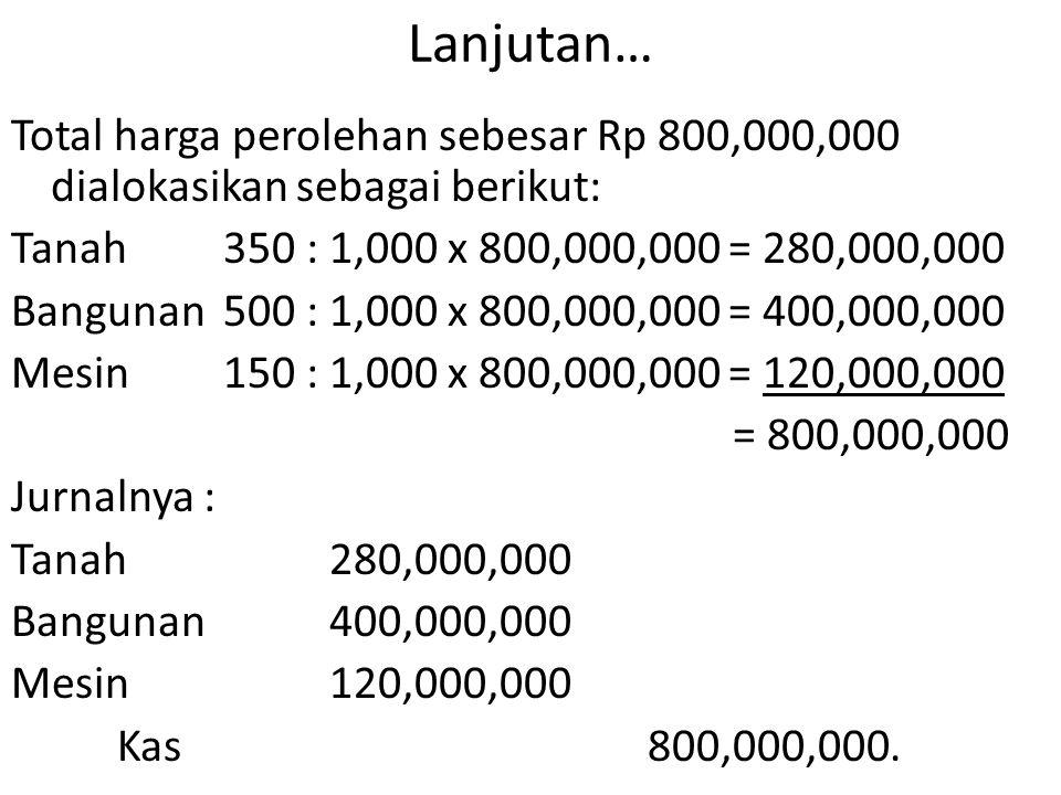 Lanjutan… Total harga perolehan sebesar Rp 800,000,000 dialokasikan sebagai berikut: Tanah350 : 1,000 x 800,000,000 = 280,000,000 Bangunan500 : 1,000