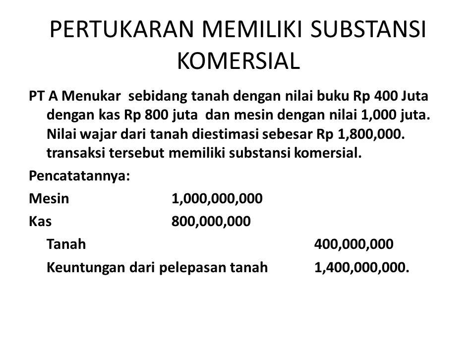 PERTUKARAN MEMILIKI SUBSTANSI KOMERSIAL PT A Menukar sebidang tanah dengan nilai buku Rp 400 Juta dengan kas Rp 800 juta dan mesin dengan nilai 1,000