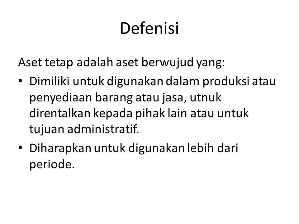 Defenisi Aset tetap adalah aset berwujud yang: Dimiliki untuk digunakan dalam produksi atau penyediaan barang atau jasa, utnuk direntalkan kepada piha