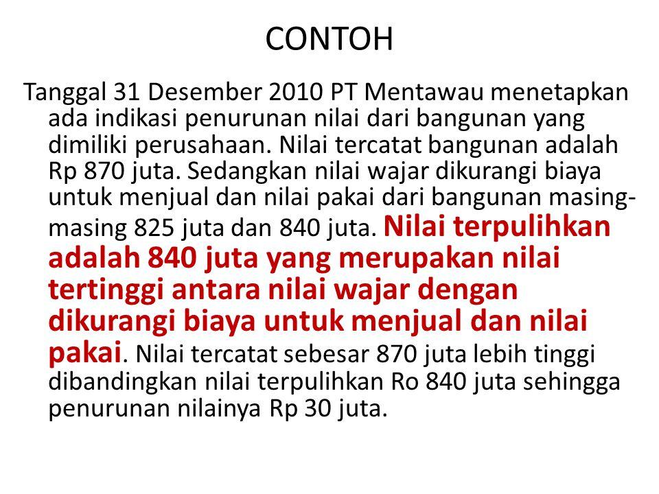 CONTOH Tanggal 31 Desember 2010 PT Mentawau menetapkan ada indikasi penurunan nilai dari bangunan yang dimiliki perusahaan. Nilai tercatat bangunan ad