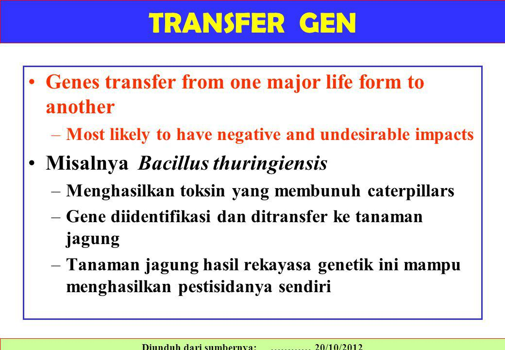 Genes transfer from one major life form to another –Most likely to have negative and undesirable impacts Misalnya Bacillus thuringiensis –Menghasilkan