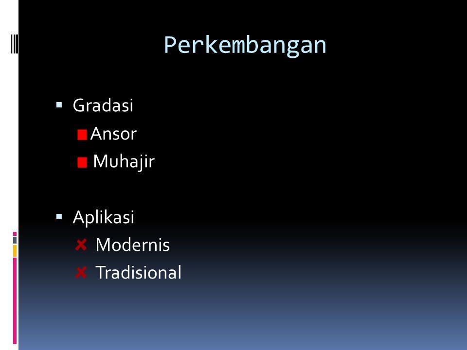 Perkembangan  Gradasi Ansor Muhajir  Aplikasi Modernis Tradisional