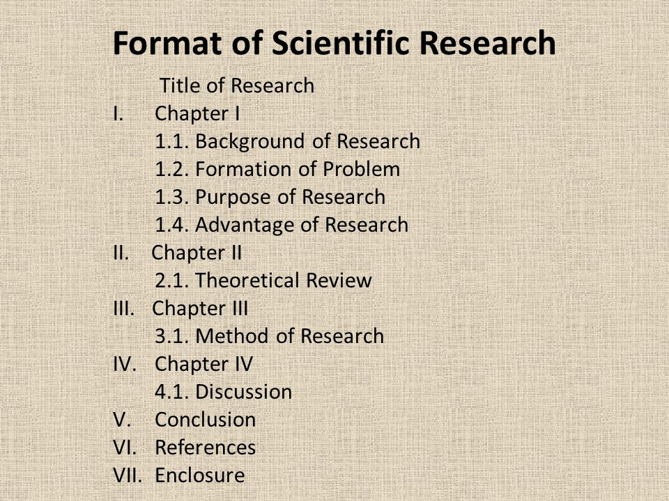 Format of Scientific Research Title of Research I.Chapter I 1.1. Background of Research 1.2. Formation of Problem 1.3. Purpose of Research 1.4. Advant