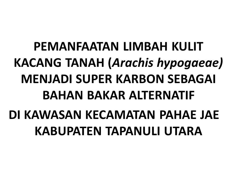 PEMANFAATAN LIMBAH KULIT KACANG TANAH (Arachis hypogaeae) MENJADI SUPER KARBON SEBAGAI BAHAN BAKAR ALTERNATIF DI KAWASAN KECAMATAN PAHAE JAE KABUPATEN