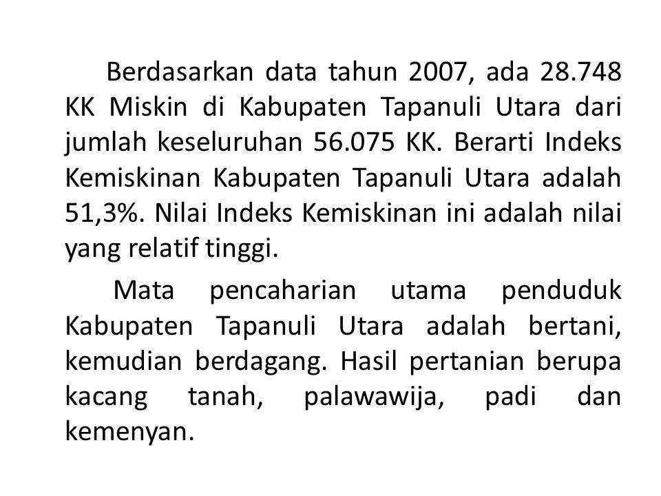 Berdasarkan data tahun 2007, ada 28.748 KK Miskin di Kabupaten Tapanuli Utara dari jumlah keseluruhan 56.075 KK. Berarti Indeks Kemiskinan Kabupaten T