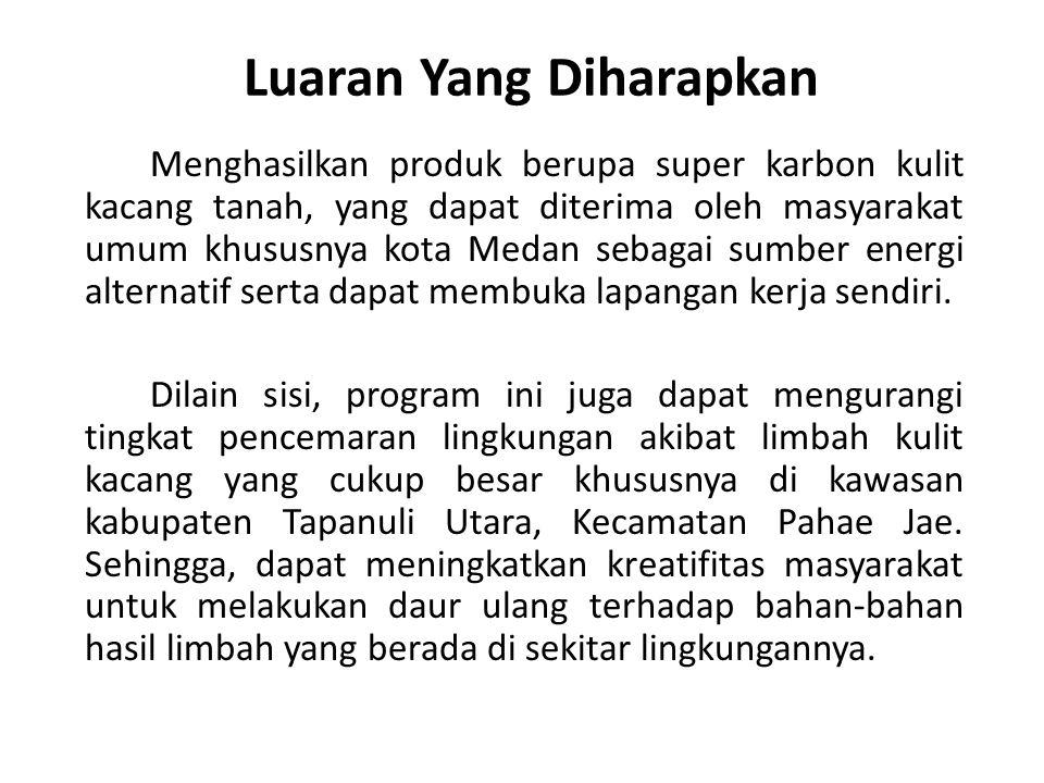 Luaran Yang Diharapkan Menghasilkan produk berupa super karbon kulit kacang tanah, yang dapat diterima oleh masyarakat umum khususnya kota Medan sebagai sumber energi alternatif serta dapat membuka lapangan kerja sendiri.