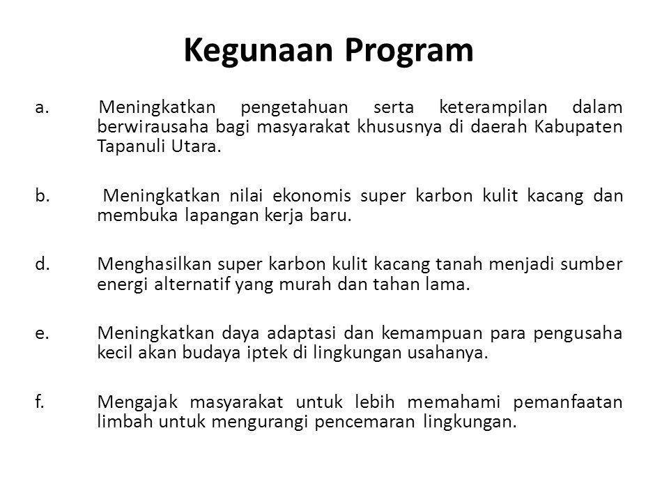 Kegunaan Program a. Meningkatkan pengetahuan serta keterampilan dalam berwirausaha bagi masyarakat khususnya di daerah Kabupaten Tapanuli Utara. b. Me