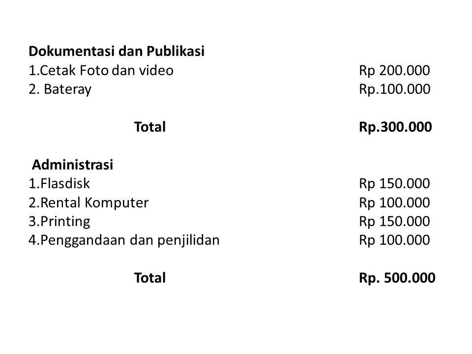 Dokumentasi dan Publikasi 1.Cetak Foto dan videoRp 200.000 2. BaterayRp.100.000 TotalRp.300.000 Administrasi 1.FlasdiskRp 150.000 2.Rental KomputerRp