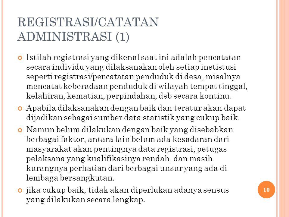 REGISTRASI/CATATAN ADMINISTRASI (1) Istilah registrasi yang dikenal saat ini adalah pencatatan secara individu yang dilaksanakan oleh setiap instistus