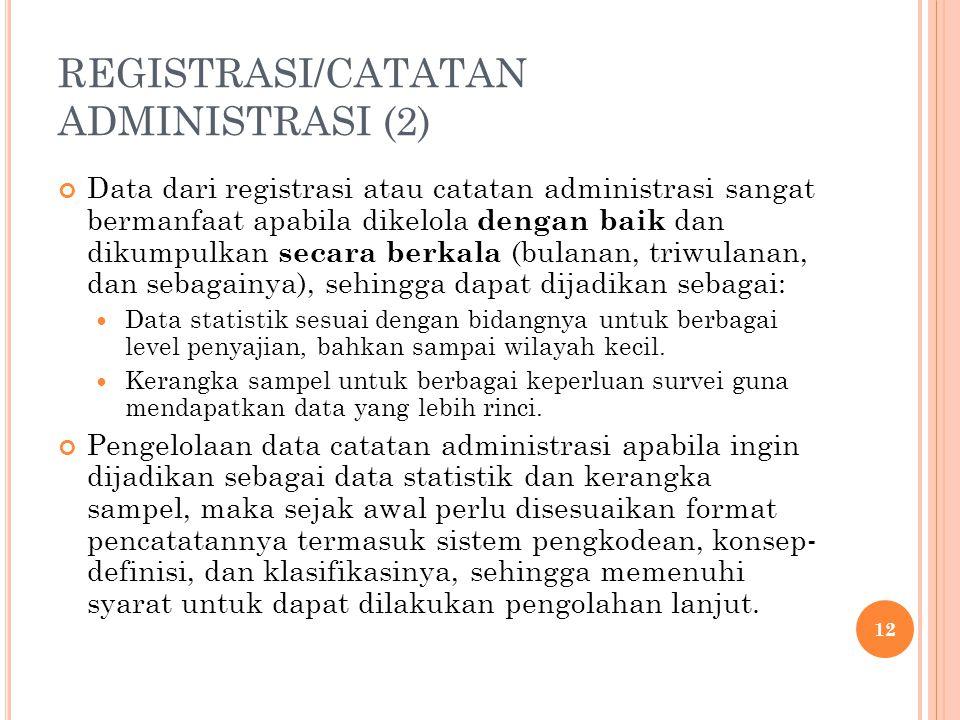 REGISTRASI/CATATAN ADMINISTRASI (2) Data dari registrasi atau catatan administrasi sangat bermanfaat apabila dikelola dengan baik dan dikumpulkan seca