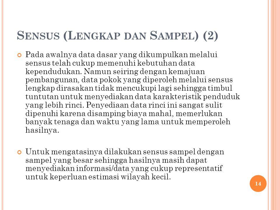 S ENSUS (L ENGKAP DAN S AMPEL ) (2) Pada awalnya data dasar yang dikumpulkan melalui sensus telah cukup memenuhi kebutuhan data kependudukan. Namun se