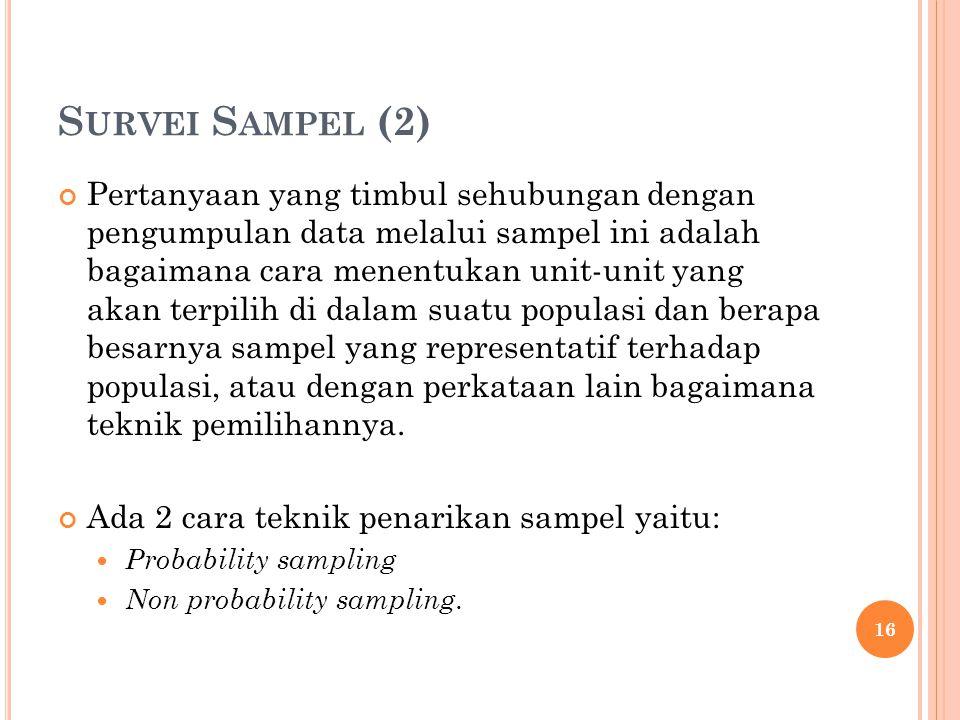 S URVEI S AMPEL (2) Pertanyaan yang timbul sehubungan dengan pengumpulan data melalui sampel ini adalah bagaimana cara menentukan unit-unit yang akan terpilih di dalam suatu populasi dan berapa besarnya sampel yang representatif terhadap populasi, atau dengan perkataan lain bagaimana teknik pemilihannya.