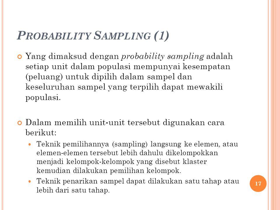 P ROBABILITY S AMPLING (1) Yang dimaksud dengan probability sampling adalah setiap unit dalam populasi mempunyai kesempatan (peluang) untuk dipilih da