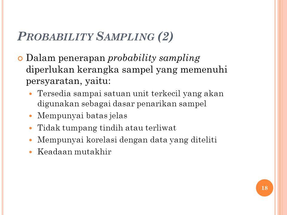 P ROBABILITY S AMPLING (2) Dalam penerapan probability sampling diperlukan kerangka sampel yang memenuhi persyaratan, yaitu: Tersedia sampai satuan unit terkecil yang akan digunakan sebagai dasar penarikan sampel Mempunyai batas jelas Tidak tumpang tindih atau terliwat Mempunyai korelasi dengan data yang diteliti Keadaan mutakhir 18