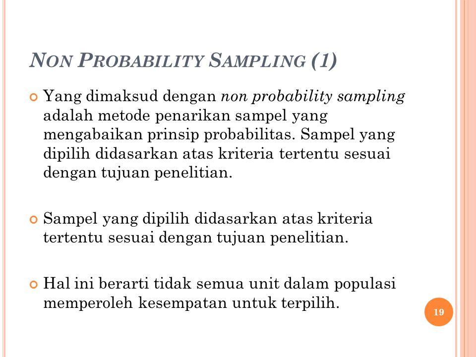 N ON P ROBABILITY S AMPLING (1) Yang dimaksud dengan non probability sampling adalah metode penarikan sampel yang mengabaikan prinsip probabilitas.