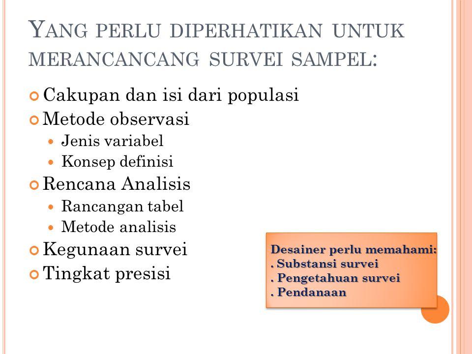 P RINSIP K EGIATAN S URVEI C ONTOH Dalam kegiatan survei perlu lebih dahulu menentukan minimal hal-hal sebagai berikut: Obyek dan tujuan dari survei Populasi survei/populasi yang akan disampel Data yang akan dikumpulkan, dalam hal ini variabelnya Tingkat ketelitian yang dikehendaki Kerangka sampel dalam populasi (population frame) dan penarikan sampelnya Target populasi yang akan disajikan (estimasi) Inferensial yang berupa berbagai kajian dan analisis.