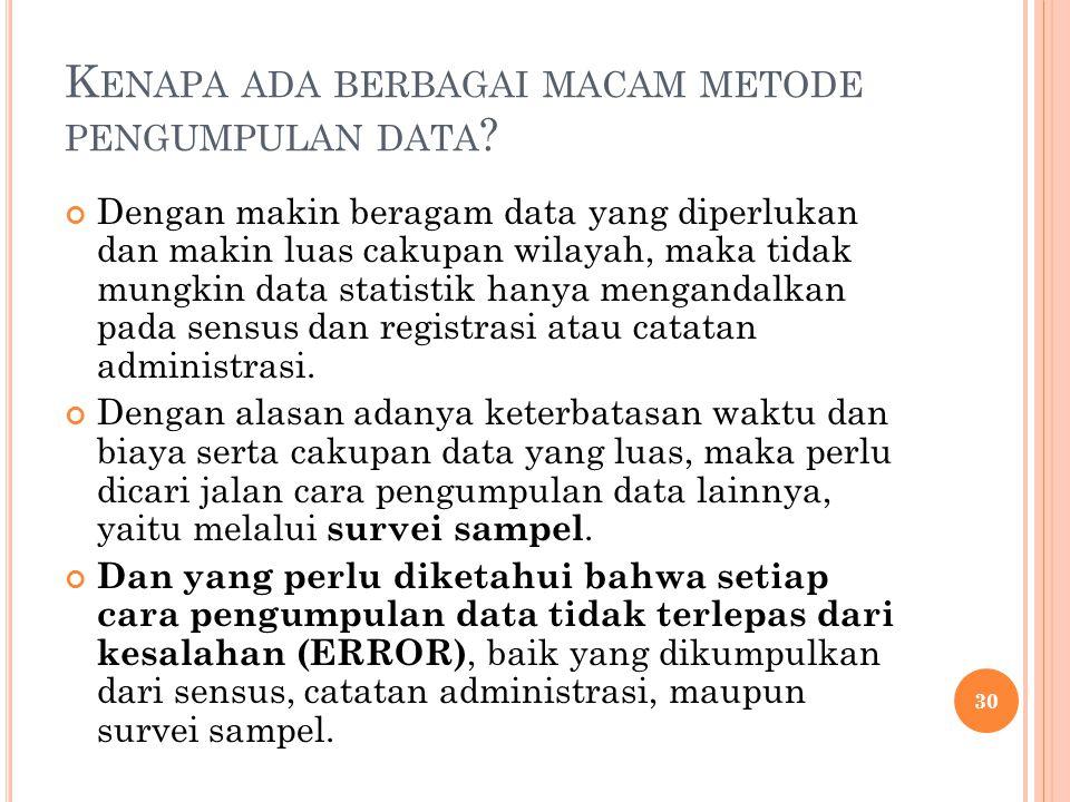 K ENAPA ADA BERBAGAI MACAM METODE PENGUMPULAN DATA ? Dengan makin beragam data yang diperlukan dan makin luas cakupan wilayah, maka tidak mungkin data