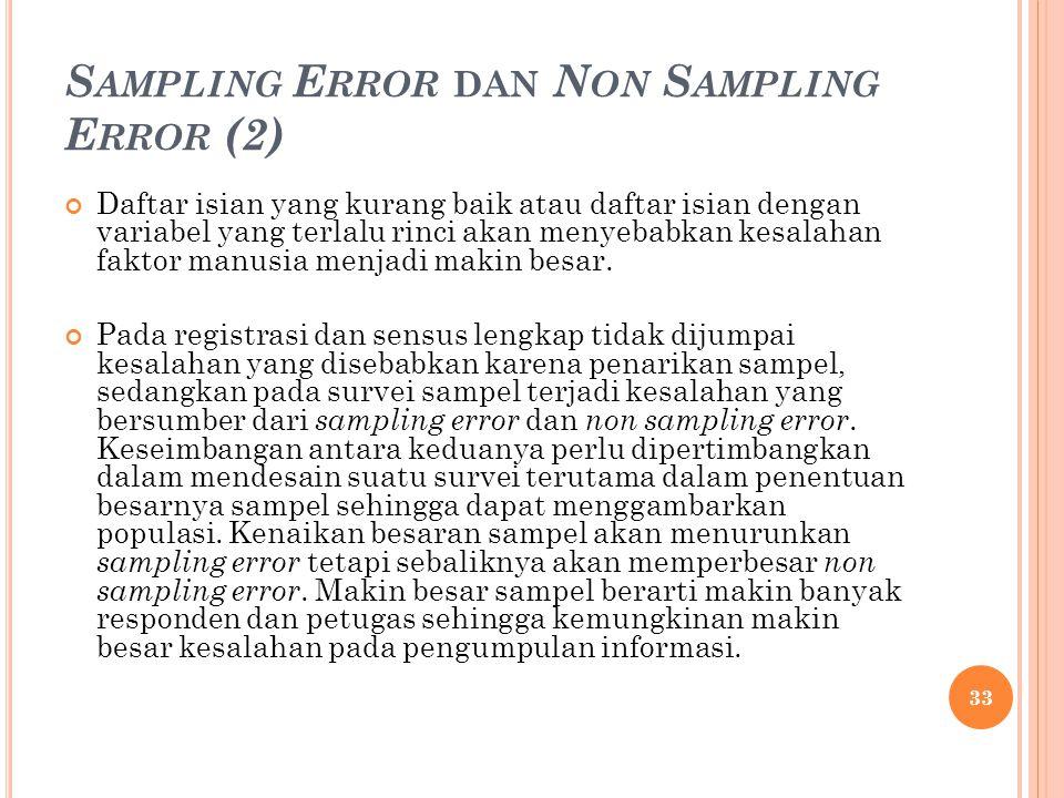 S AMPLING E RROR DAN N ON S AMPLING E RROR (2) Daftar isian yang kurang baik atau daftar isian dengan variabel yang terlalu rinci akan menyebabkan kesalahan faktor manusia menjadi makin besar.