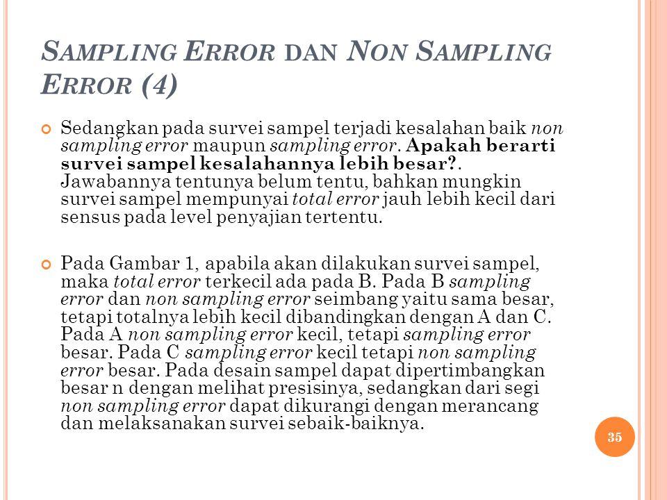 S AMPLING E RROR DAN N ON S AMPLING E RROR (4) Sedangkan pada survei sampel terjadi kesalahan baik non sampling error maupun sampling error. Apakah be