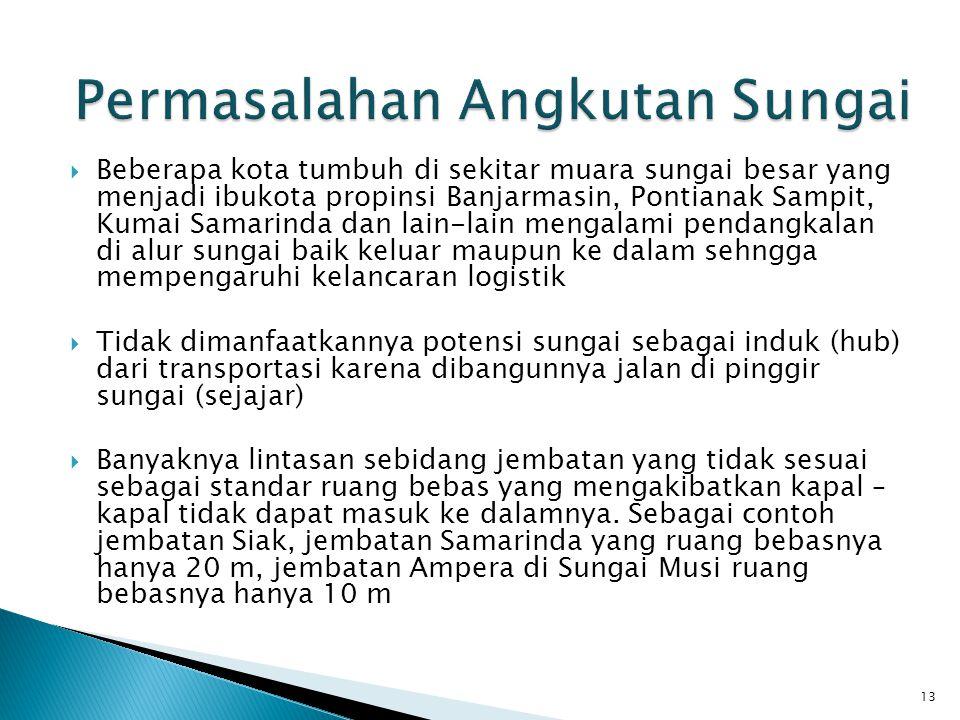  Beberapa kota tumbuh di sekitar muara sungai besar yang menjadi ibukota propinsi Banjarmasin, Pontianak Sampit, Kumai Samarinda dan lain-lain mengal