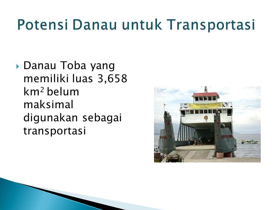  Danau Toba yang memiliki luas 3,658 km 2 belum maksimal digunakan sebagai transportasi 20