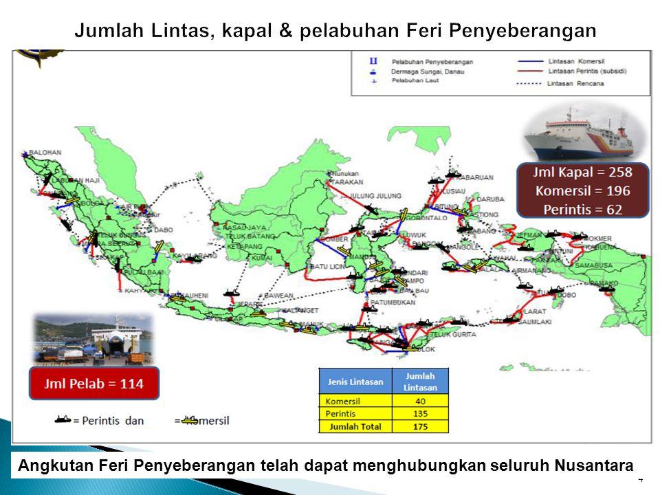 4 Angkutan Feri Penyeberangan telah dapat menghubungkan seluruh Nusantara