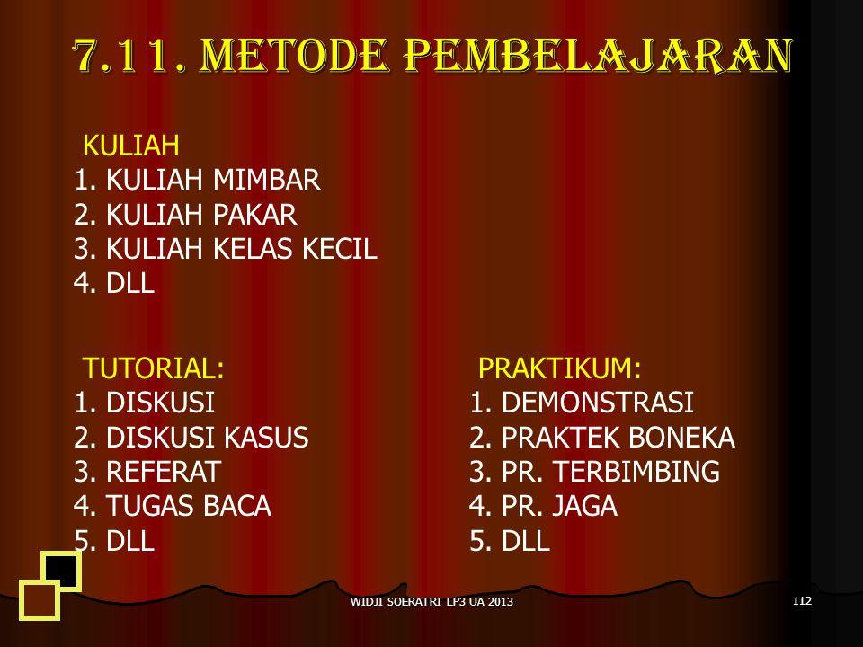 TUTORIAL: 1.DISKUSI 2.DISKUSI KASUS 3.REFERAT 4.TUGAS BACA 5.DLL PRAKTIKUM: 1.DEMONSTRASI 2.PRAKTEK BONEKA 3.PR.