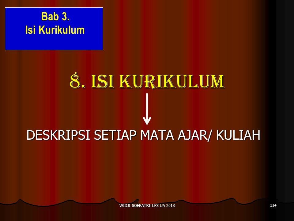 8.ISI KURIKULUM DESKRIPSI SETIAP MATA AJAR/ KULIAH 114 WIDJI SOERATRI LP3 UA 2013 Bab 3.